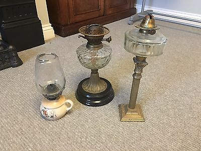 3 Old Oil Lamps