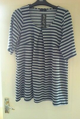 Ladies Long Maternity Top Grey and Navy Stripes BNWT Size 18