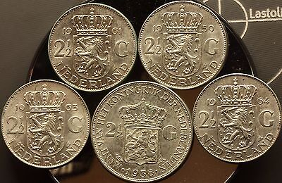 1938-59-61-63-64 Netherlands 2 ½ Gulden 72% silver bullion coins  5 coins total