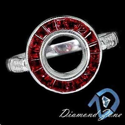 Vintage Setting French Cut Ruby Round Semi Mount Ring Blood Red Antique Style