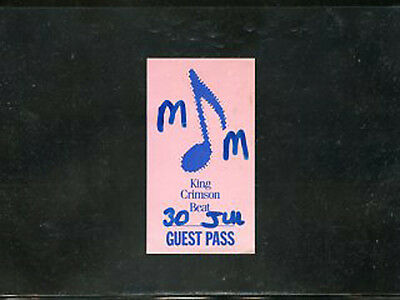King Crimson 1982 - Beat - backstage guest pass