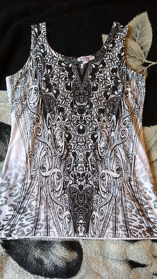 Inncoent Lifestyle Womens Vest Top Black and White Size L NEW Lace Pattern