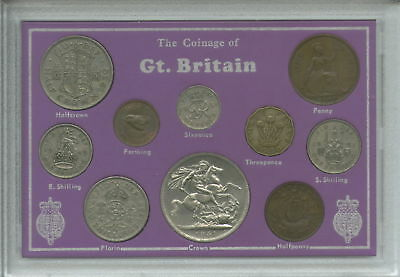 1945-1951 King George VI (Second Type) Crown Coin Collection Collector Gift Set