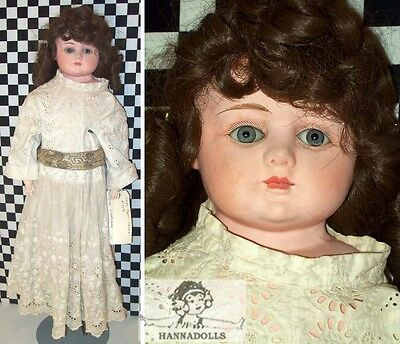 """Huge 30"""" Antique German Patent Washable Doll w French Set Eyes Minor Wear Clean~"""
