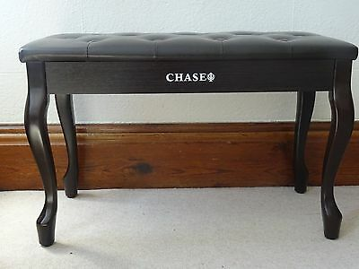 Chase Duet Piano Stool Keyboard Bench Brown Rosewood wth space for music storage
