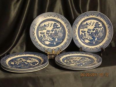 "8 CHURCHILL  'BLUE WILLOW' 10-3/8"" Dinner PLATES~VG Condition"