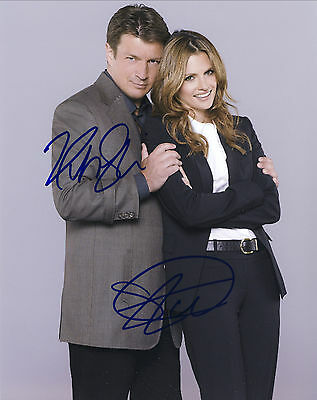 Castle Series Hand Signed Stana Katic And Nathan Fillion 10x8