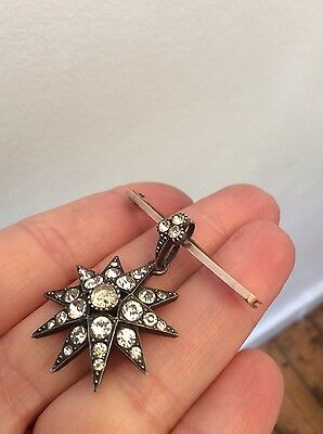 Antique victorian silver & 9 ct rose gold paste star brooch pendant conversion