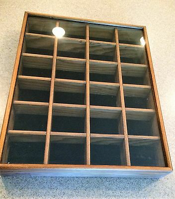 Wall Display Case Miniature Collectibles  Shadow Box Wood/Glass 24 Spots #3