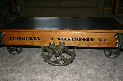 Antique Lineberry Factory Cart Coffee Table w/schoolhouse chalkboard insert