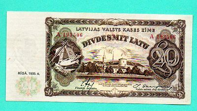 LATVIA LETTLAND 20 LATU 1935 P. 30a  FARMER AND WOMAN AU-UNC 662