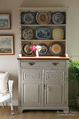 Vintage Farmhouse Oak Welsh Dresser Painted in Farrow & Ball