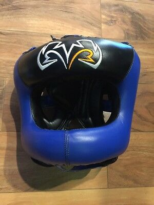 New Rival Blue Guerrero Facesaver Boxing Head Gear L/XL