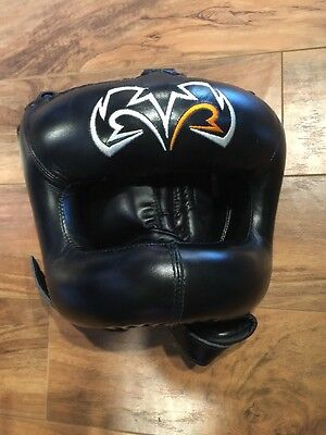New Rival Black Guerrero Facesaver Boxing Head Gear S/M