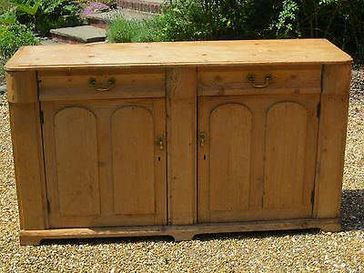 ANTIQUE PINE DRESSER BASE / SIDEBOARD. Delivery poss. ALSO CHURCH PEW & CHAIRS.