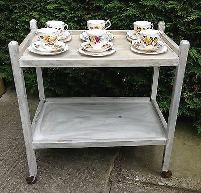 Vintage Retro Wooden Painted Tea Trolley / Side End Table ~ Shabby Chic