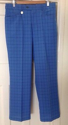 Stromberg Golf Trousers Blue Check Teflon Coated W34 L31