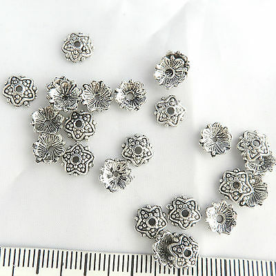25 Silver Tone Bead caps, 8mm Accent spacer bead, earrings, choker decoration