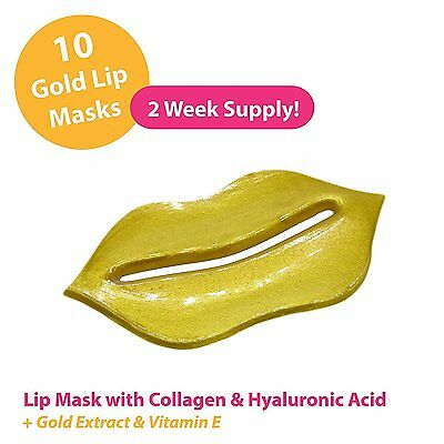 Gold Collagen Lip Masks x10 with Hyaluronic Acid for Plump and Beautiful Lips