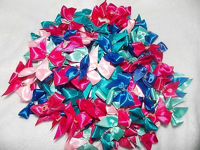 Joblot 200 dog grooming bows with diamante stone BLUES/PINKS
