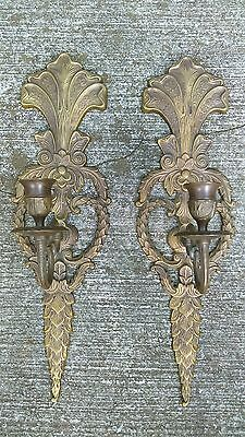 Vintage Pair Brass Candle-Holder Wall Sconces Ornate Hollywood Regency 16.5""