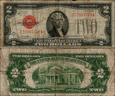1928G $2 Dollar Bill Old Us Note Legal Tender Paper Money Currency Red Sl Y479