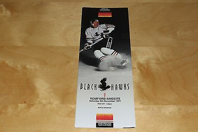 Blackburn Blackhawks vs Romford Raiders - Ice Hockey Programme 9th November 1991