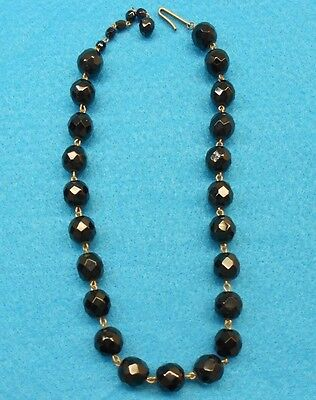 Elegant Vintage Made in WEST GERMANY Faceted Black Glass Bead Choker