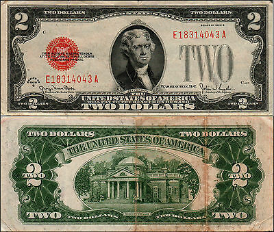 1928G $2 Dollar Bill Old Us Note Legal Tender Paper Money Currency Red Sl Y488