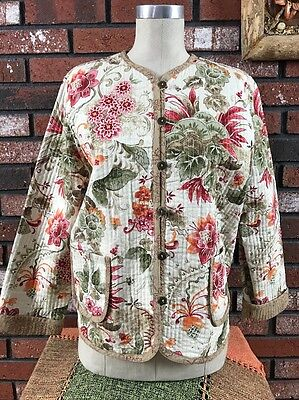 """Women""""s Alfred Dunner Petite 12P Quited Jacket floral 100% Cotton 2 front pocket"""