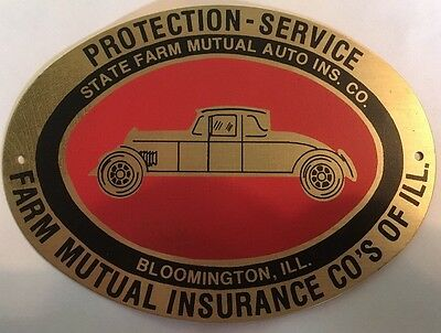 Vtg State Farm Mutual Auto Ins Reprod. Plaque License Plate Illinois Excellent!