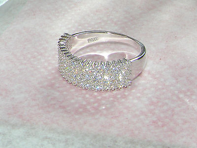 Sterling Silver Ring,5 Row Eternity Ring  size 8 / Q