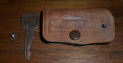Vintage Leather Keycase Grimm Motors Dodge Valparaiso Indiana w Red Brass Ford