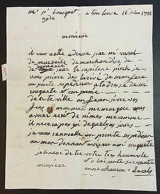 1792, Antique letter from France, 223 Years old!