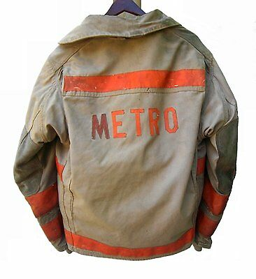 """Vintage 1995 Globe Firefighter Turn Out Jacket """"METRO"""" 48 x 29"""