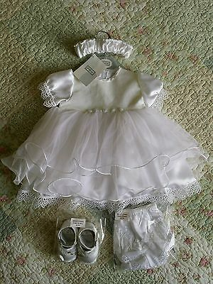 Christening Wedding Princess Dress Baby 0-6 Months Outfit By Pex With Shoes BNWT