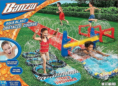 Banzai Aqua Blast Obstacle Course Water Slide 16' Fun&Safe for Kids Outdoor Toys