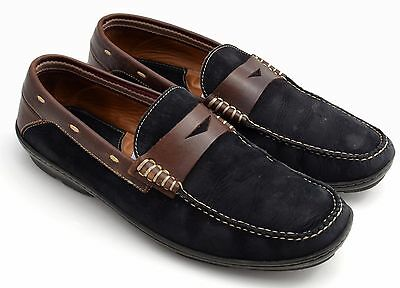 Mens Johnston & Murphy Black Brown Penny Loafers Shoes 10.5 M B 10 1/2
