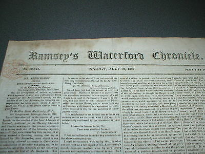 1822 Ramsey's Waterford Chronicle, Original Antique Newspaper, Cork Whiskey ad