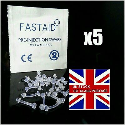 """5x 10mm curved clear flexible eyebrow retainer hide it with """"o"""" ring"""