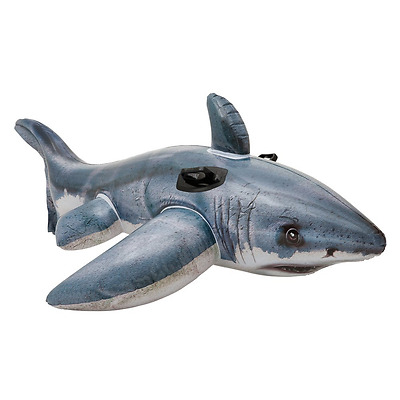 Inflatable Great White Shark Rider Ride On Beach Fun Toy Swimming Pool Float 3+