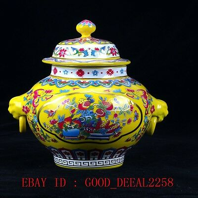 Chinese Famille Rose Porcelain Hand-painted Flower Pot W Qing Qianlong Mark