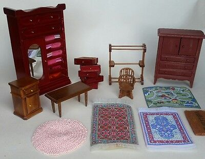 Job Lot Of Random Dolls House Furniture. Bedroom - Rugs & More