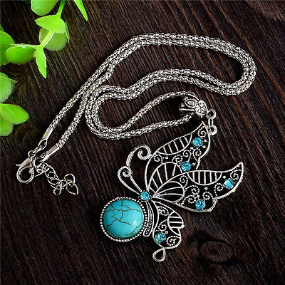 New Womens Tibetan Silver Butterfly Turquoise Necklace Pendant Jewellery Gift