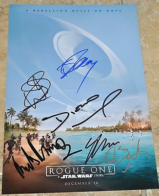 """Star Wars Rogue One Multi Signed 12"""" x 8"""" Cast Photo #2"""