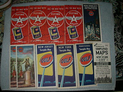 Vintage Road Maps Flying A Veedol Oil & Gulf New York Boston Massachusetts 1950s