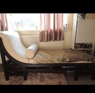Shabby Chic Chaise Lounge Chair Bed Cushions Cream Wooden