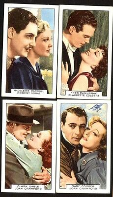 CIGARETTE CARDS Film Partners Complete set, Gallaher 1935  Gable Harlow Crawford