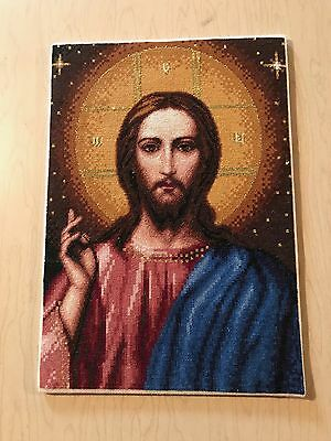 Needle Point - Altar Picture Religious Christ the Teacher - Handmade