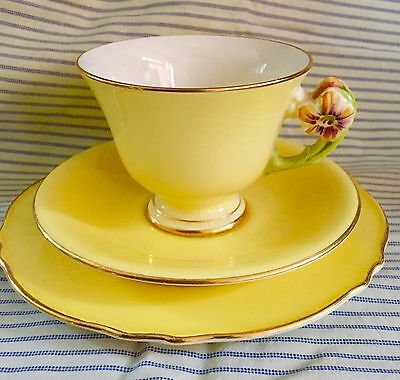 Royal Winton GrimWades Deco Yellow Trio Gilded Green Flower Cup Saucer Plate